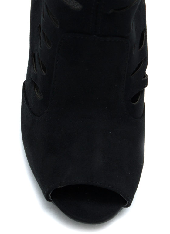 No Tears Faux Suede Boots BLACK