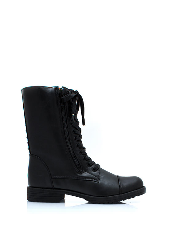 Studded Duo Zipper Combat Boots BLACK