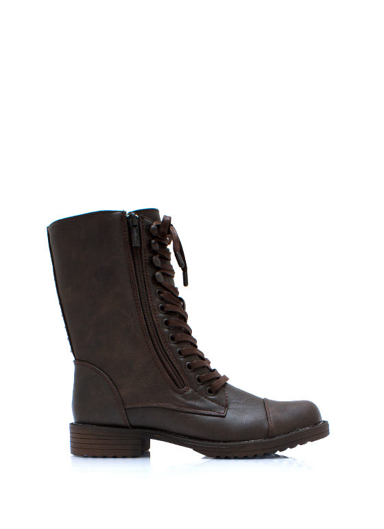 Studded Duo Zipper Combat Boots BROWN