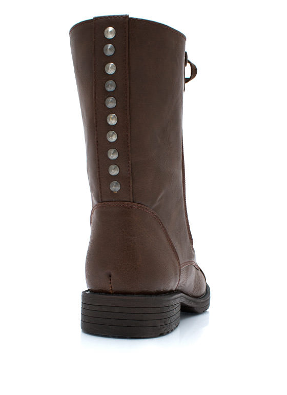 Studded Duo Zipper Combat Boots CHESTNUT
