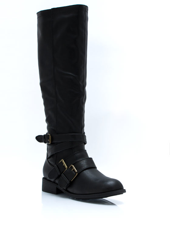 Strappers Delight Buckled Boots BLACK