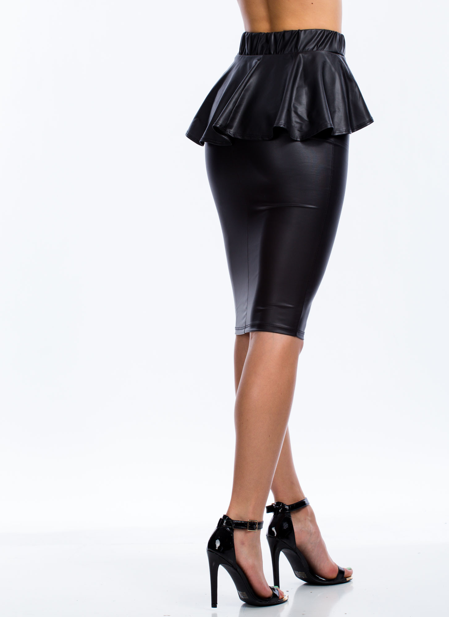 Faux You Peppy Pencil Skirt BLACK