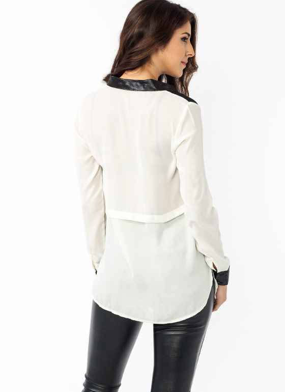 Colorblock Double Pocket Blouse IVORY