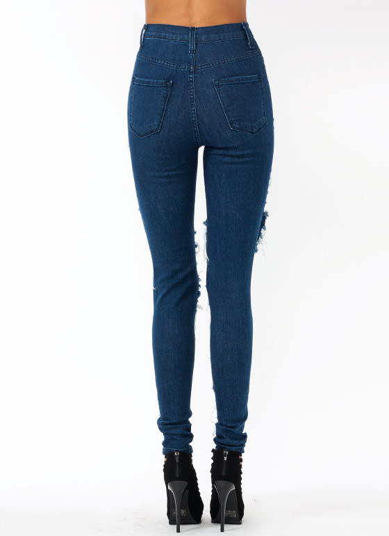 Destroyer High Waisted Jeans DKBLUE
