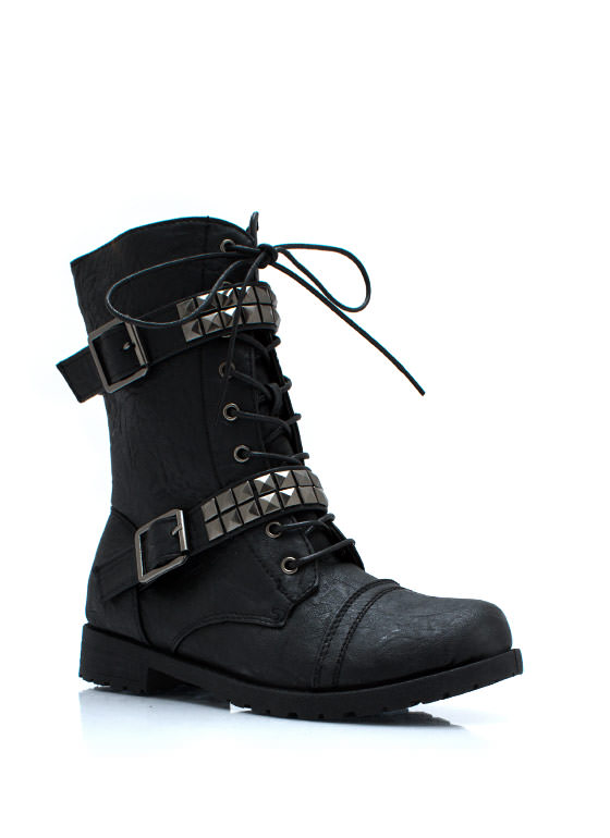 Square Off Studded Combat Boots BLACK