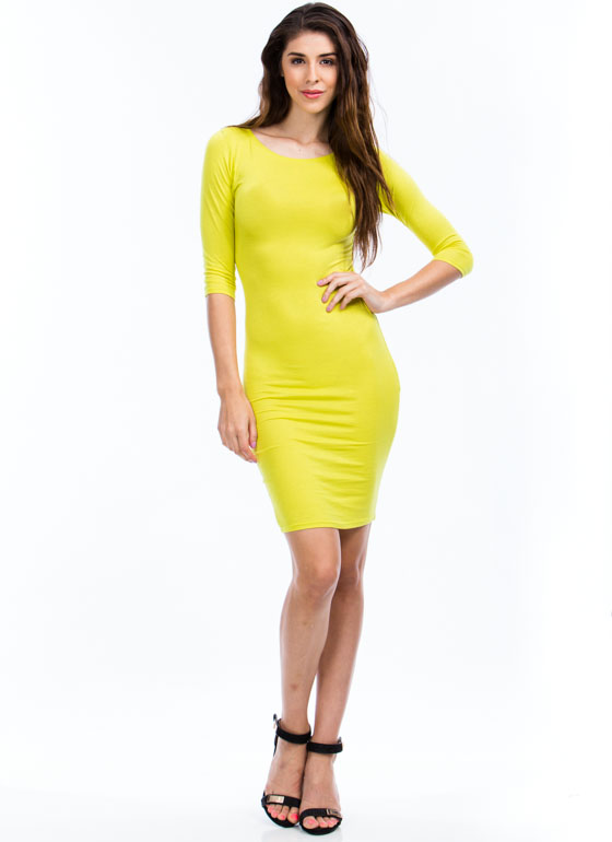 Basically Banging Midi Dress CITRON