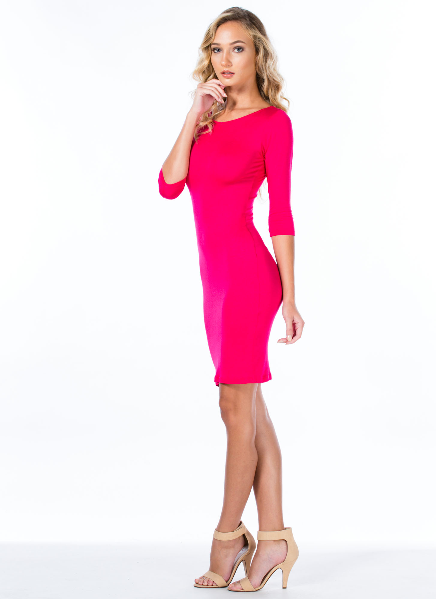 Basically Banging Midi Dress FUCHSIA