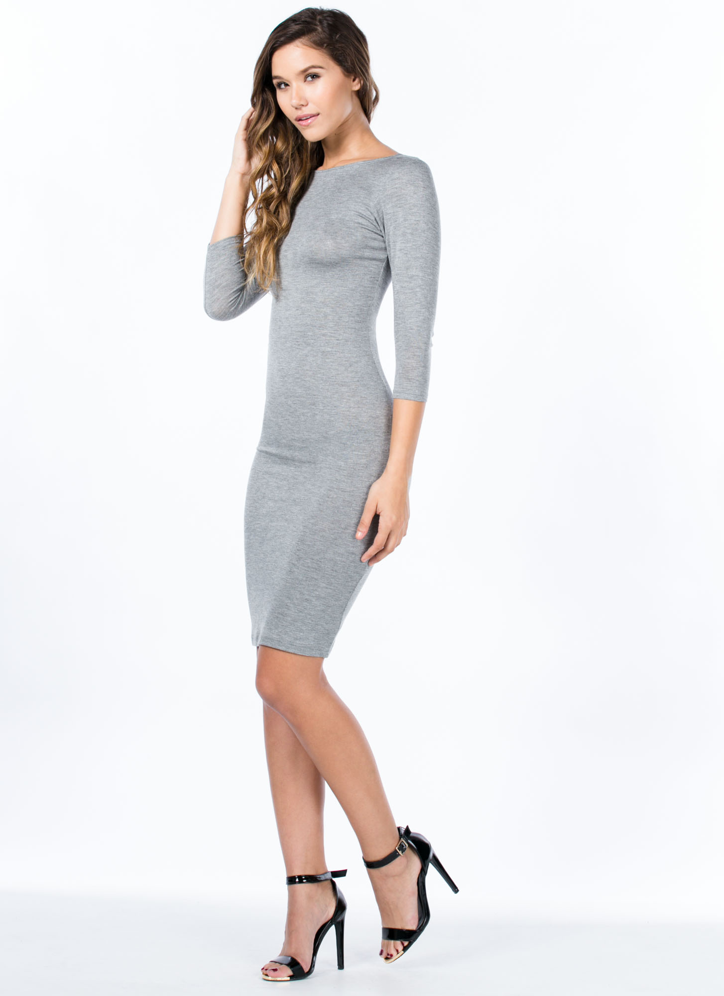 Basically Banging Midi Dress HGREY