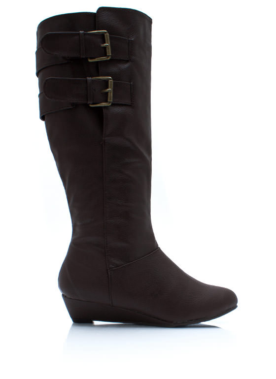 Duo Buckle Low Wedge Boots BROWN