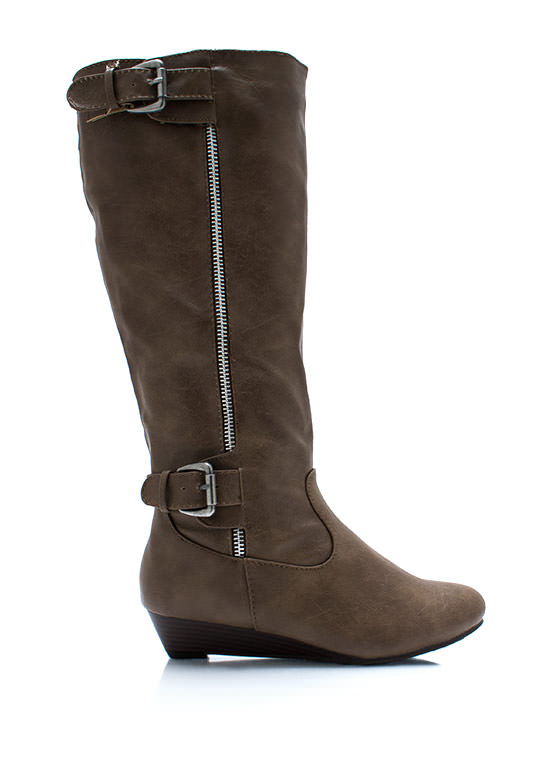 Double Buckle N Zip Boots TAUPE