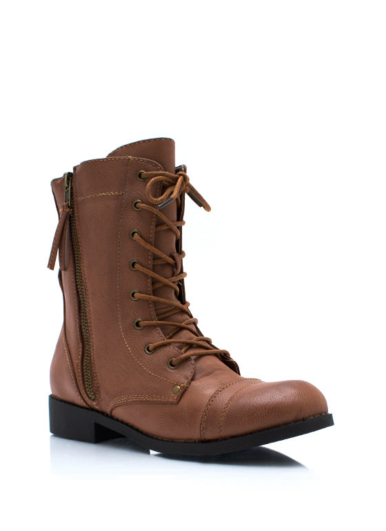 Zip It Combat Boots CHESTNUT