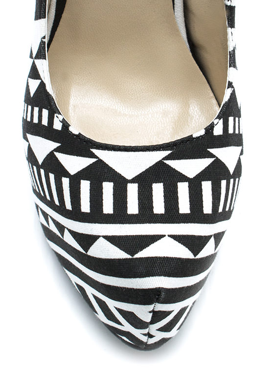 Triangulated Platform Pumps BLACKWHITE