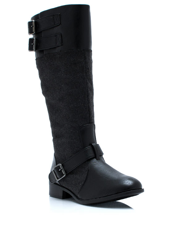 Total Softie Mixed Riding Boots BLACK