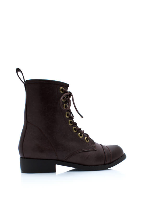 Short And Sweet Combat Boots BURGUNDY