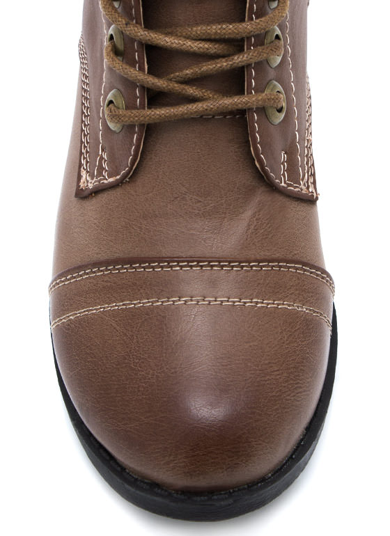 Short And Sweet Combat Boots CHESTNUT