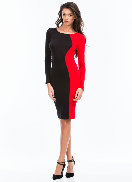 Curves Ahead Midi Dress RED
