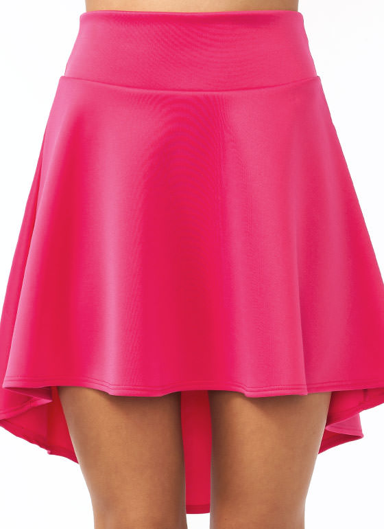 High Low Skater Girl Skirt FUCHSIA