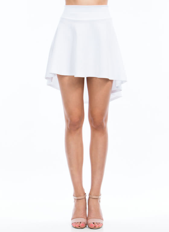 High Low Skater Girl Skirt WHITE