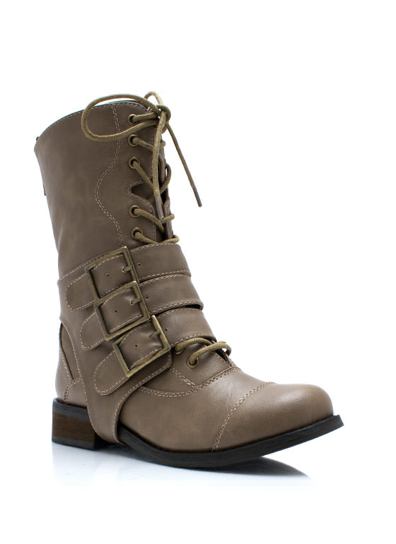 Three Straps Law Buckled Combat Boots TAUPE