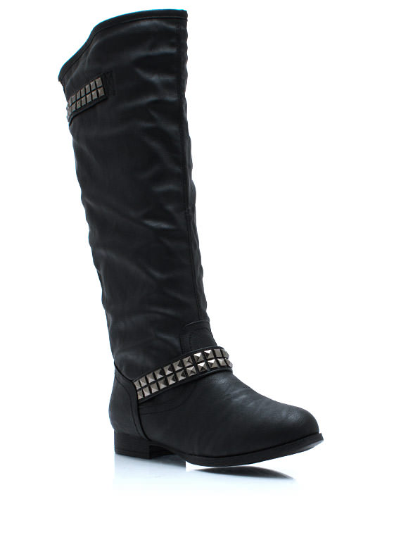 Flair And Square Studded Riding Boots BLACK