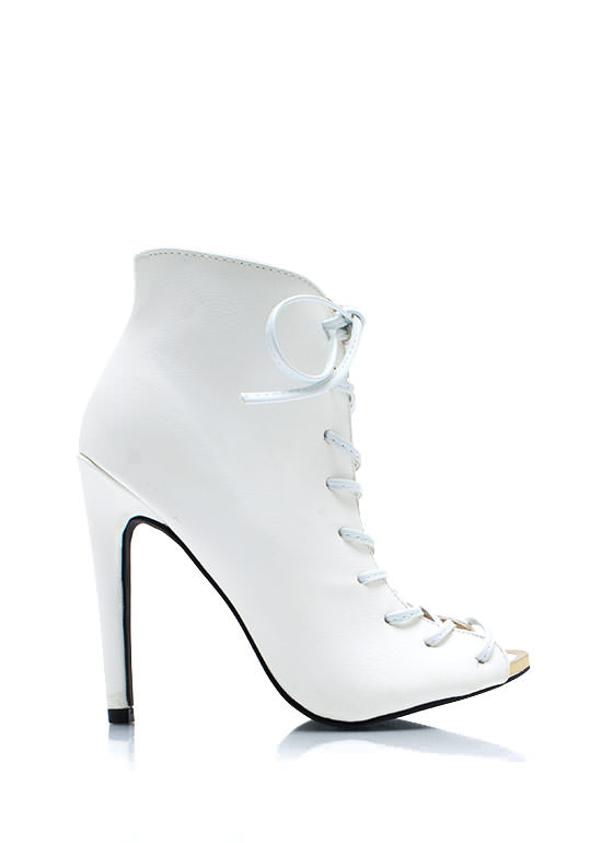 Corset Lace Up Booties WHITE