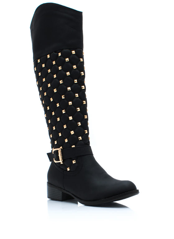 Squared Pyramid Stud Riding Boots BLACK