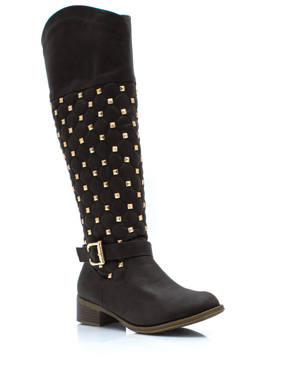 Squared Pyramid Stud Riding Boots BROWN