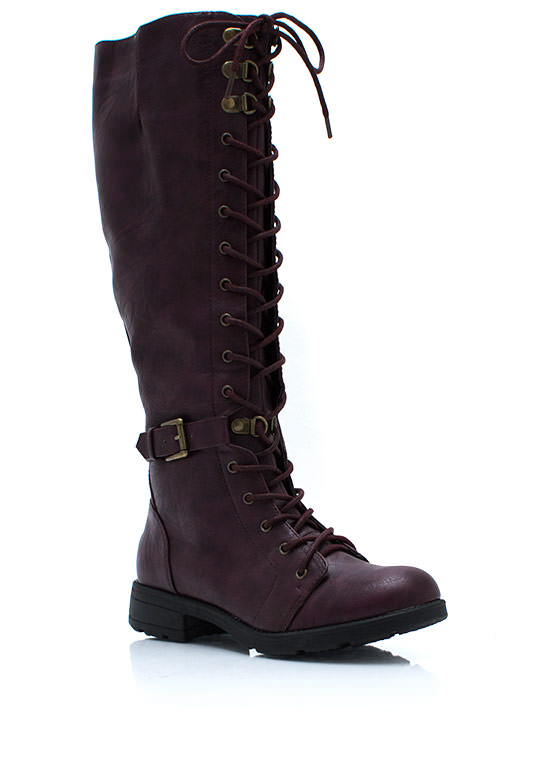Tall Or Nothing Lace Up Boots PURPLE