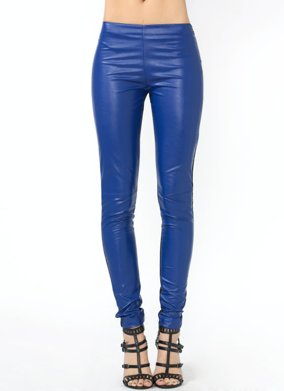 On The Flip Side Faux Leather Pants ROYALBLACK