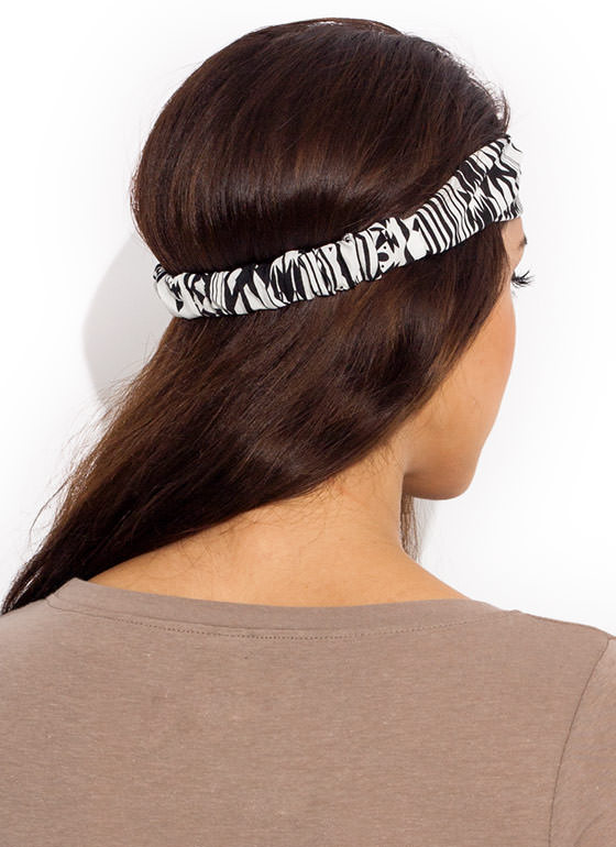 Striped Out Tribal Headband BLACKWHITE