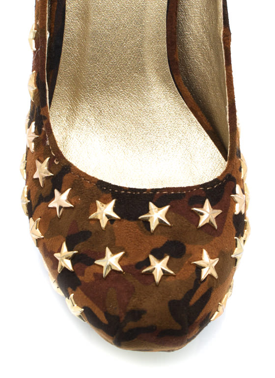 Brigade Beauty Star Studded Platforms BROWN