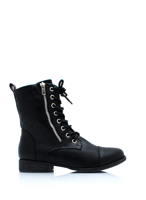 Zip Two It Lace Up Boots BLACK