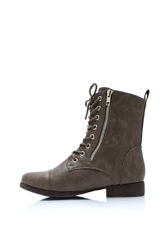 Zip Two It Lace Up Boots TAUPE