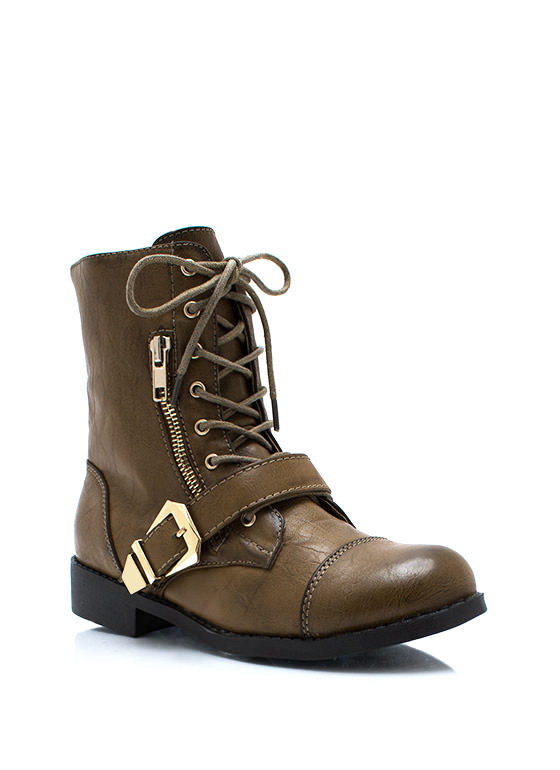 Zip It Good Combat Boots OLIVE