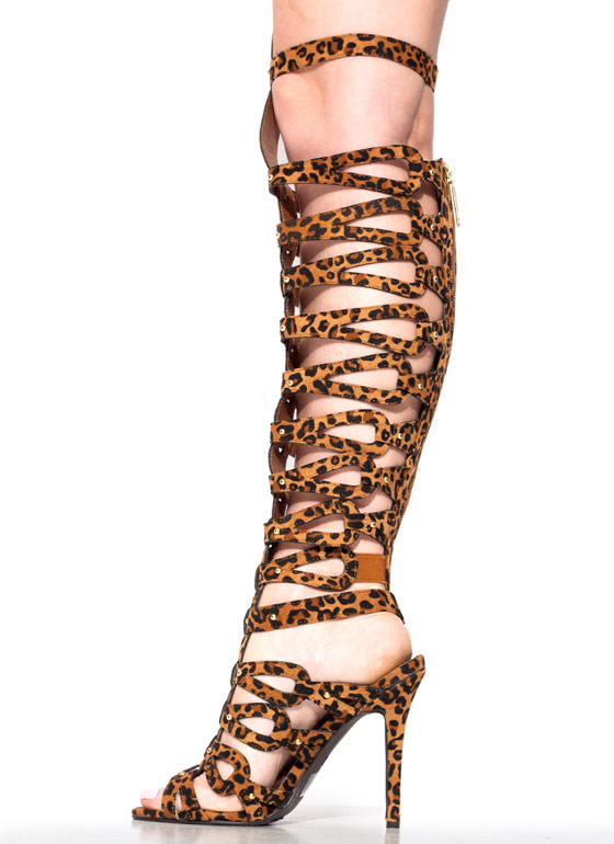 Arena Animal Leopard Gladiator Heels BROWNLEO