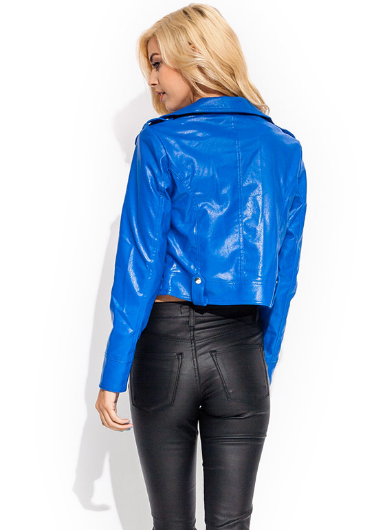 Moto Skills Faux Leather Jacket COBALT