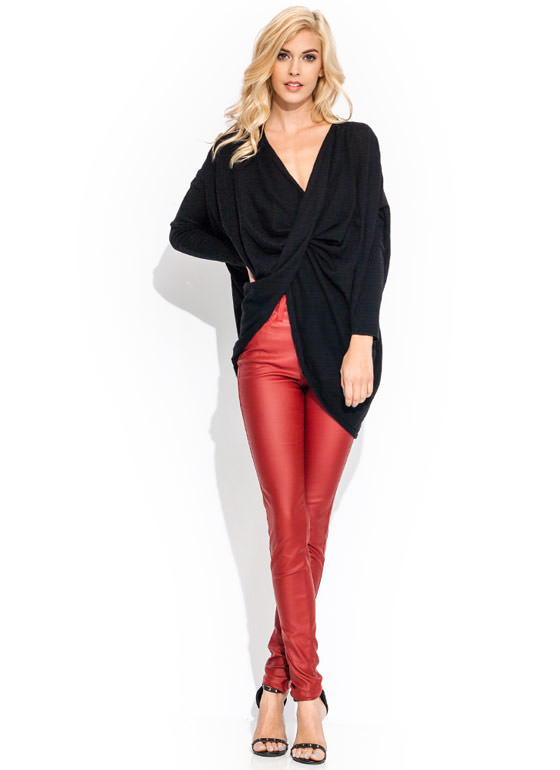 Coated High Waisted Jeans WINE