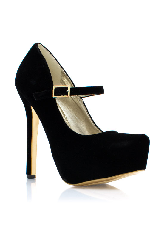 Velvet Mary Jane Pumps BLACK