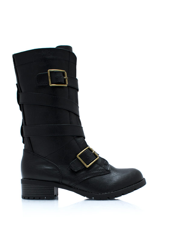 Double Buckle Military Boots BLACK