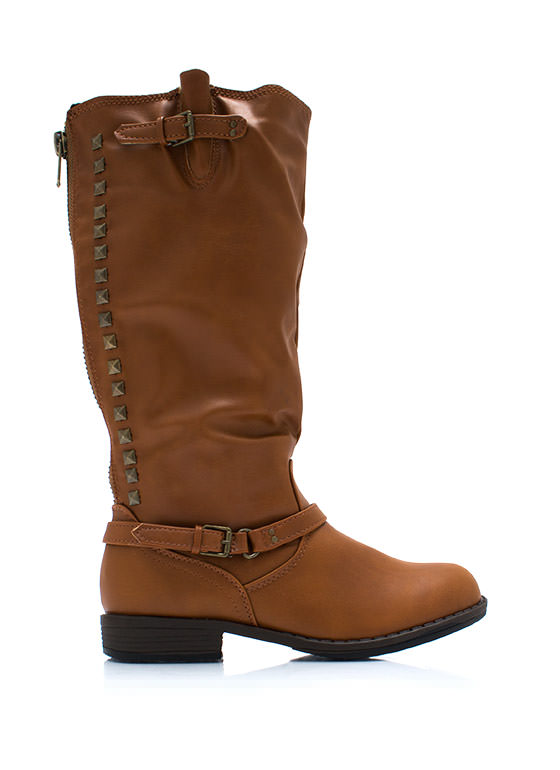 Be There Be Square Studded Boots CHESTNUT