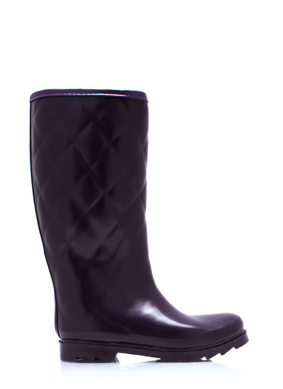 Quilted Rubber Rain Boots PURPLE