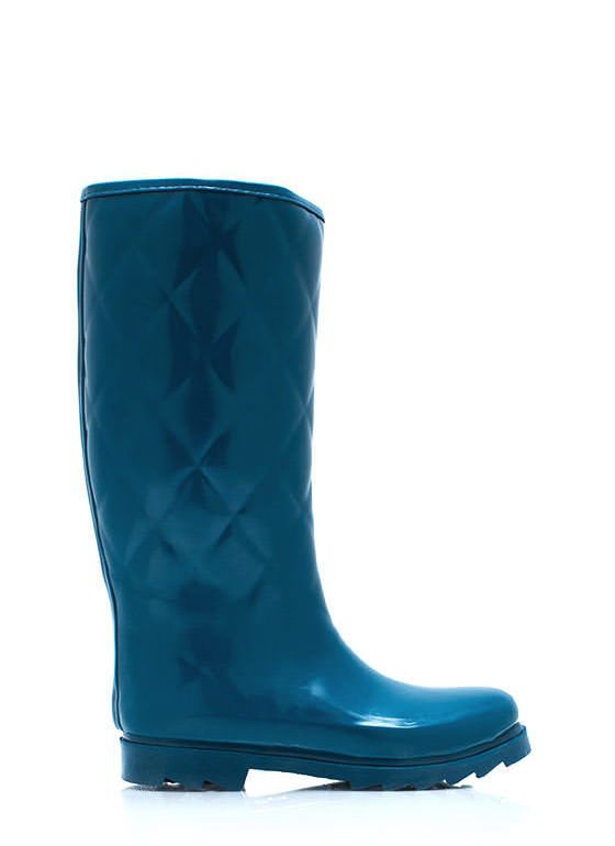 Quilted Rubber Rain Boots TEAL
