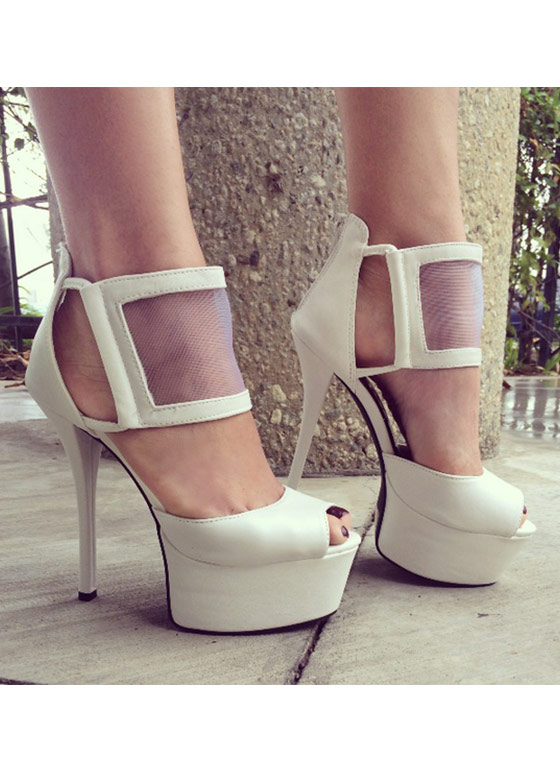 Meet Your Mesh Peep Toe WHITE