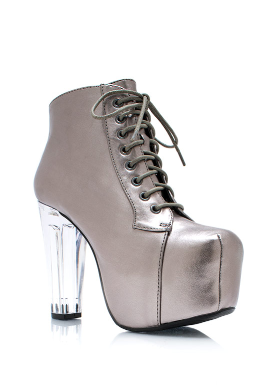 Clearly Metallic Poppin Booties PEWTER