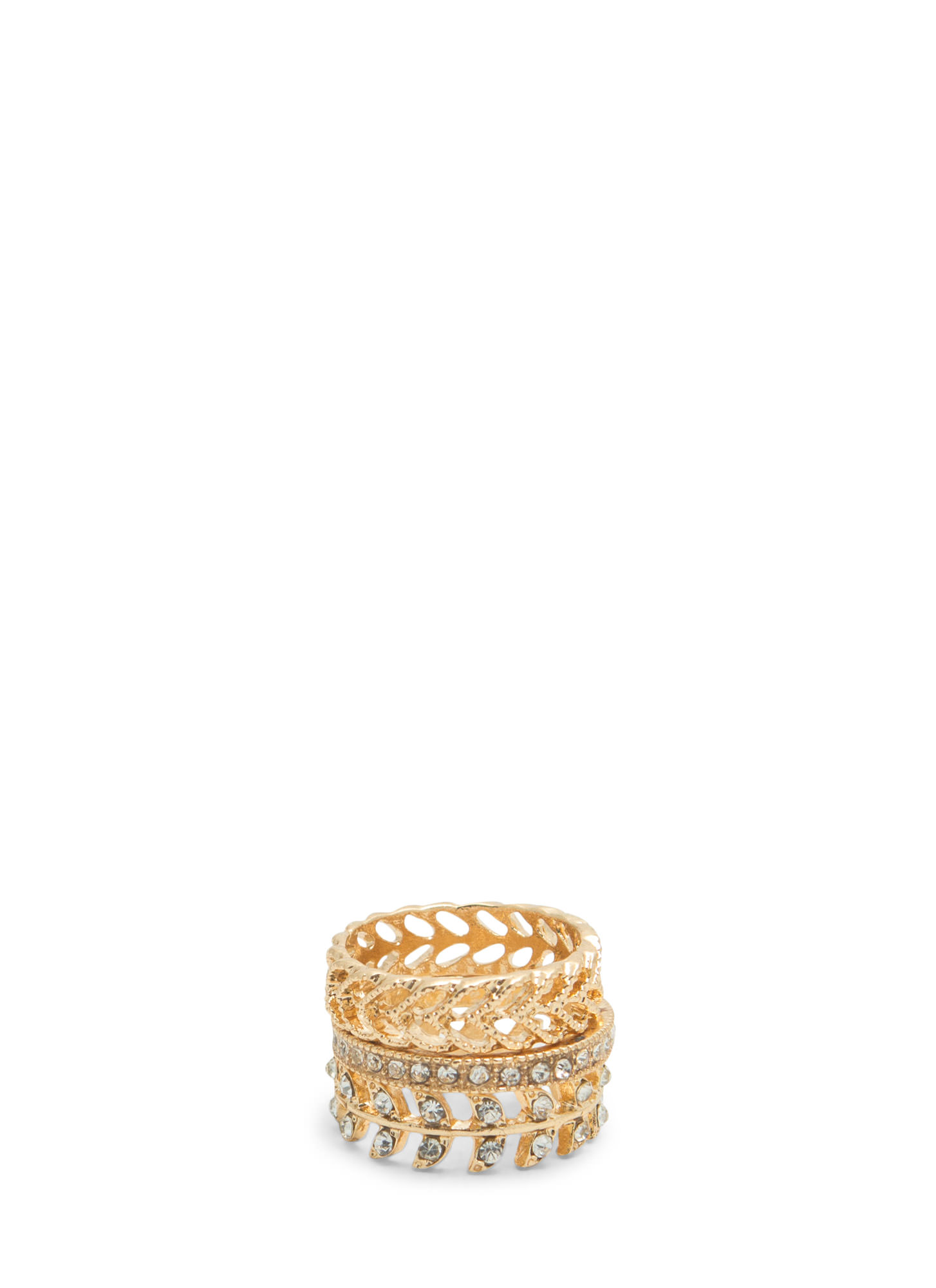 New Leaf Midi Ring Set GOLD