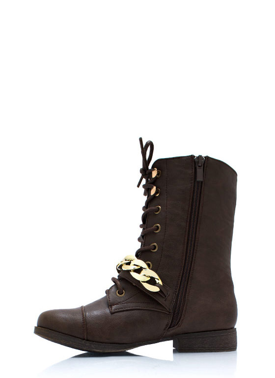 Chain It Up Lace Up Boots BROWN