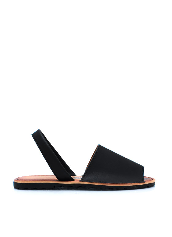 Faux Leather Traveler Slingback Sandals BLACK