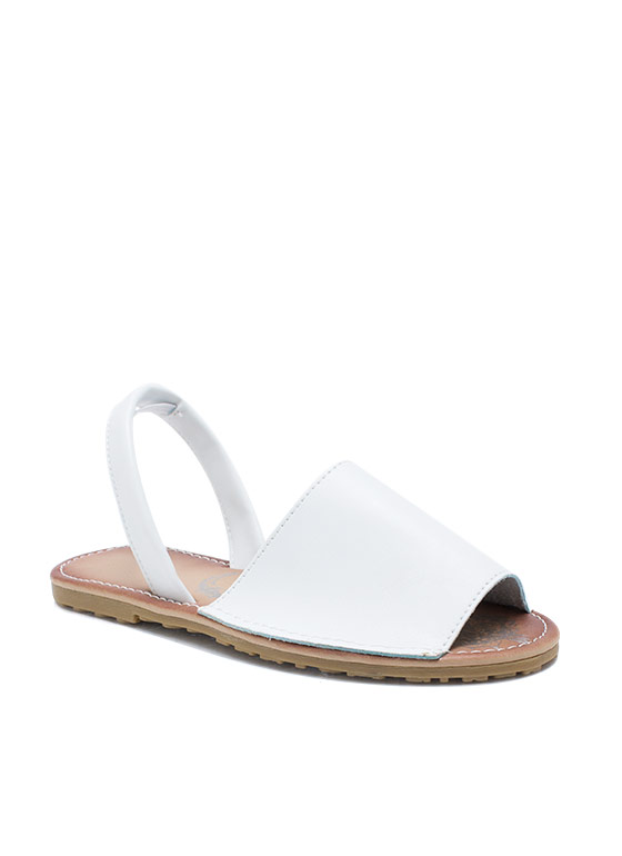 Faux Leather Traveler Slingback Sandals WHITE