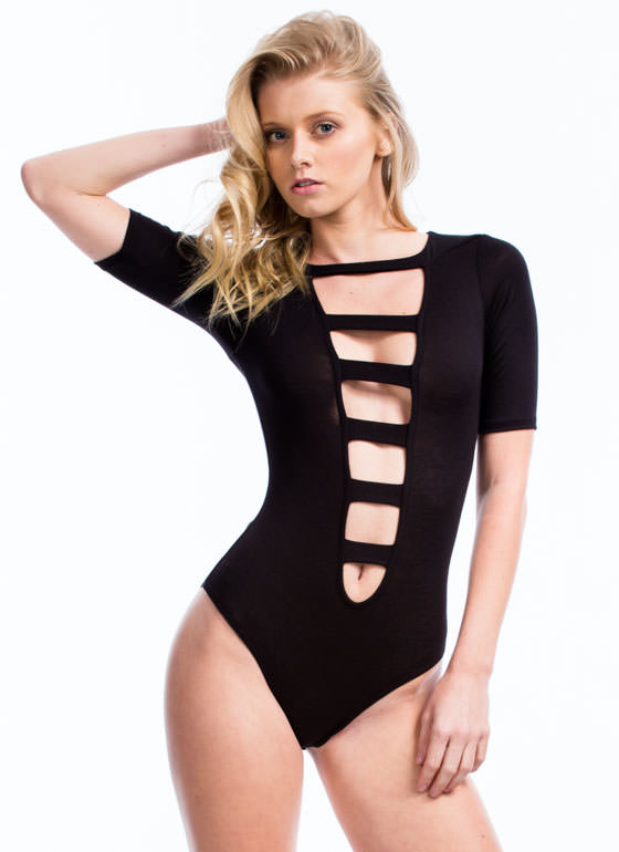 Raise The Bars Cage Front Bodysuit BLACK