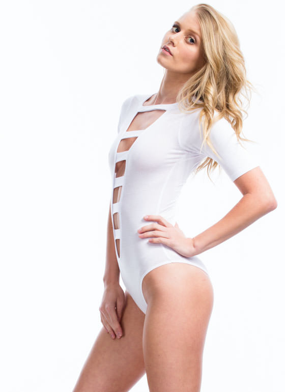 Raise The Bars Cage Front Bodysuit WHITE